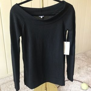NWT - Black off the shoulder sweater top, size M